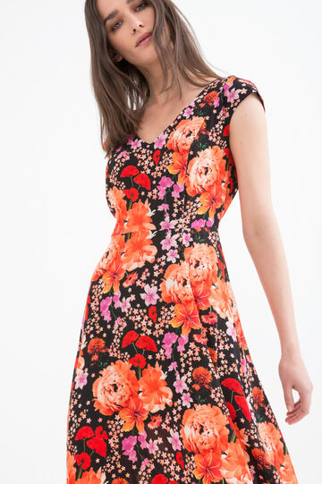 Stretch dress with floral print, Black, hi-res