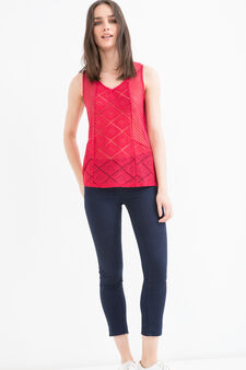 Semi-sheer, solid colour top, Red, hi-res