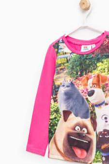 Maxi Pets print cotton T-shirt, Fuchsia, hi-res