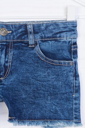 Shorts di jeans effetto delavé, Blu, hi-res