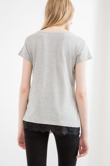 Floral embroidered cotton and viscose T-shirt, Grey Marl, hi-res