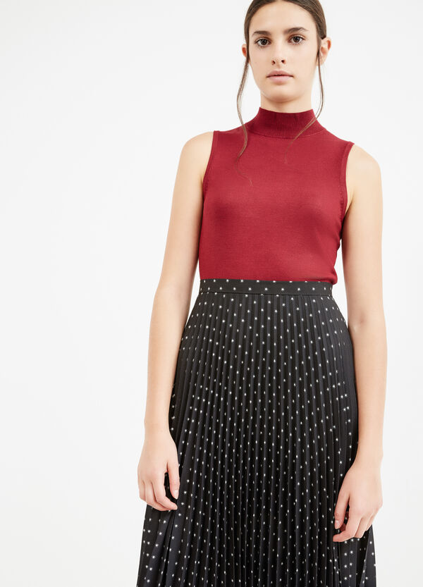 Solid colour sleeveless pullover with high neck   OVS