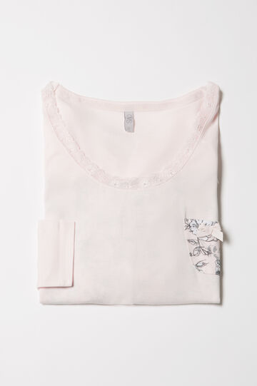 Maglia pigiama viscosa stampata, Rosa, hi-res