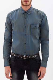 Camicia quadri con taschino, Grigio/Verde, hi-res