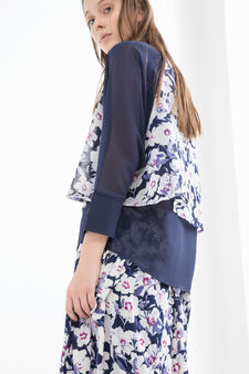 Printed blouse with faux layering, Blue, hi-res