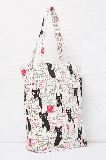 Cotton shopping bag with print, Cream White, hi-res