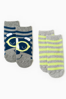 Two-pair pack slipper socks with stripes, Navy Blue, hi-res