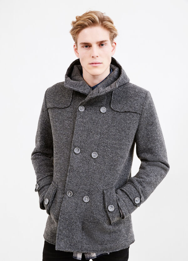 Wool coat with asymmetrical opening   OVS