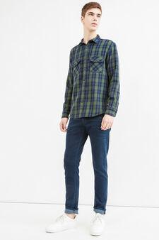 Camicia casual a quadri in cotone G&H, Blu/Verde, hi-res