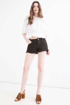 Shorts di jeans inserto traforato, Nero, hi-res