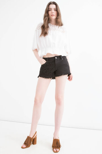 Denim shorts with openwork insert