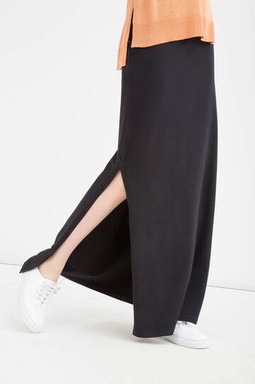 Stretch cotton long skirt, Black, hi-res
