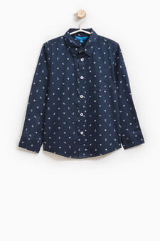 100% cotton shirt with pocket, Blue, hi-res