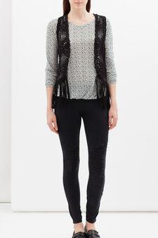 Sleeveless openwork cardigan, Black, hi-res