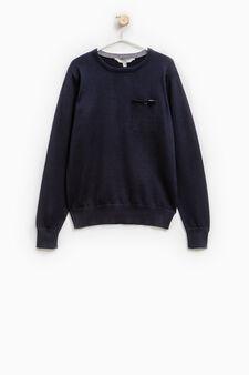 Solid colour 100% cotton knit pullover, Blue, hi-res