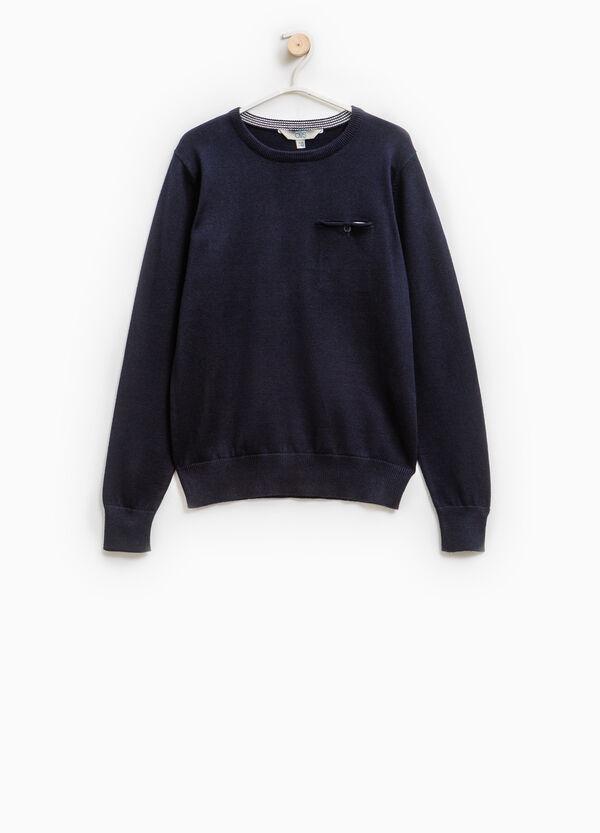Solid colour 100% cotton knit pullover   OVS