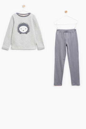 Polka dot pattern pyjamas in 100% cotton, Grey Marl, hi-res