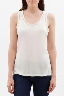 Vest with openwork trim, Milky White, hi-res