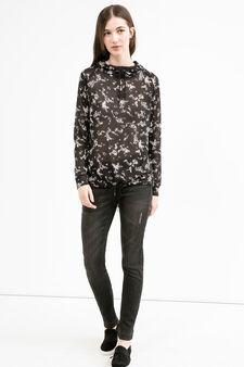 Stretch sweatshirt with hood and drawstring, Black, hi-res