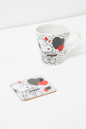 Snoopy cup and coaster set, White, hi-res