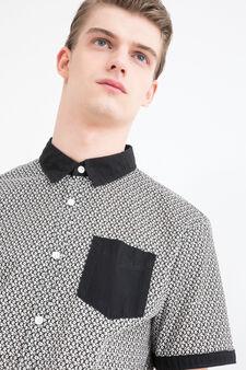 Slim fit patterned cotton shirt, Black, hi-res