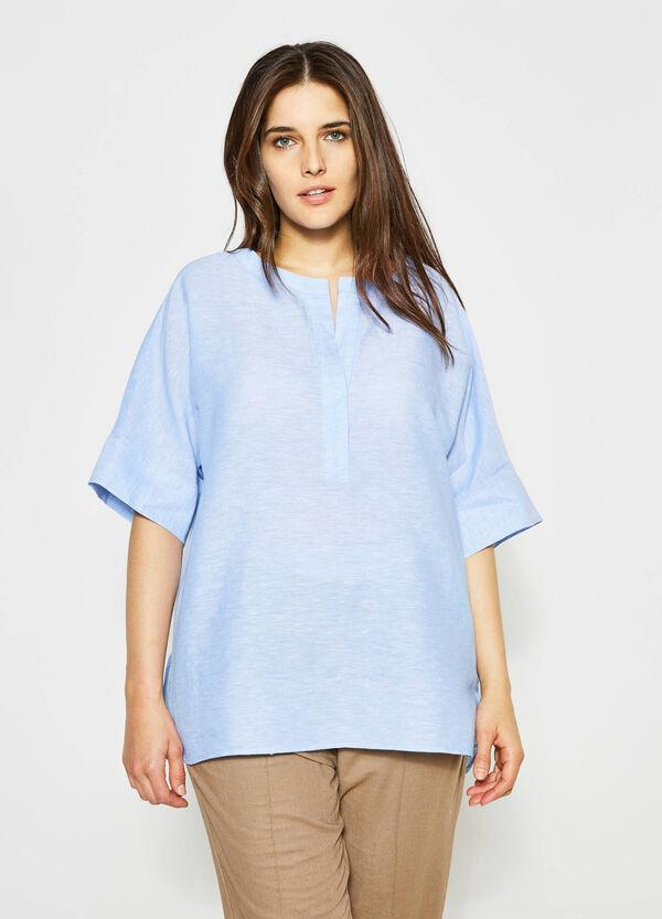 Curvy V-neck linen blouse | OVS