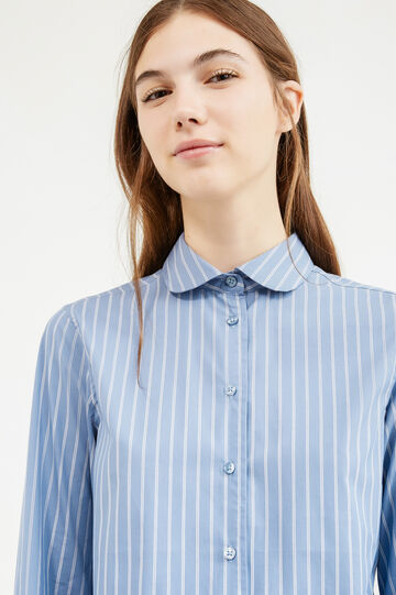 Striped stretch cotton shirt, White/Light Blue, hi-res