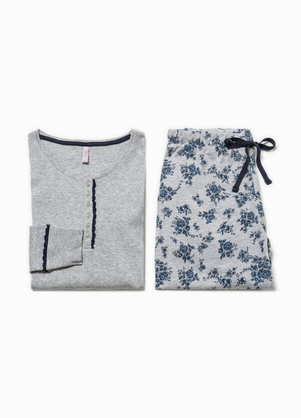 Ribbed top and trousers pyjama set | OVS