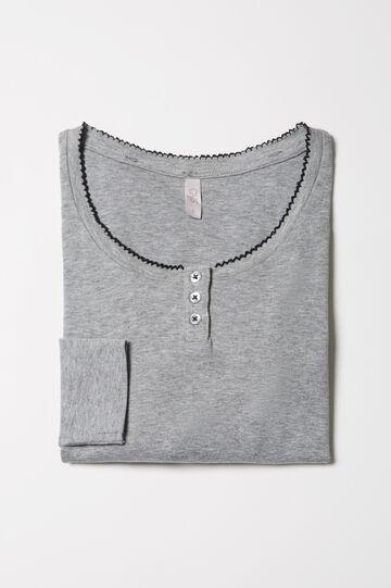 Solid colour cotton pyjama top, Grey Marl, hi-res