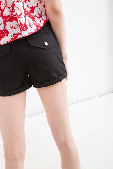 Shorts cotone stretch tasche, Nero, hi-res