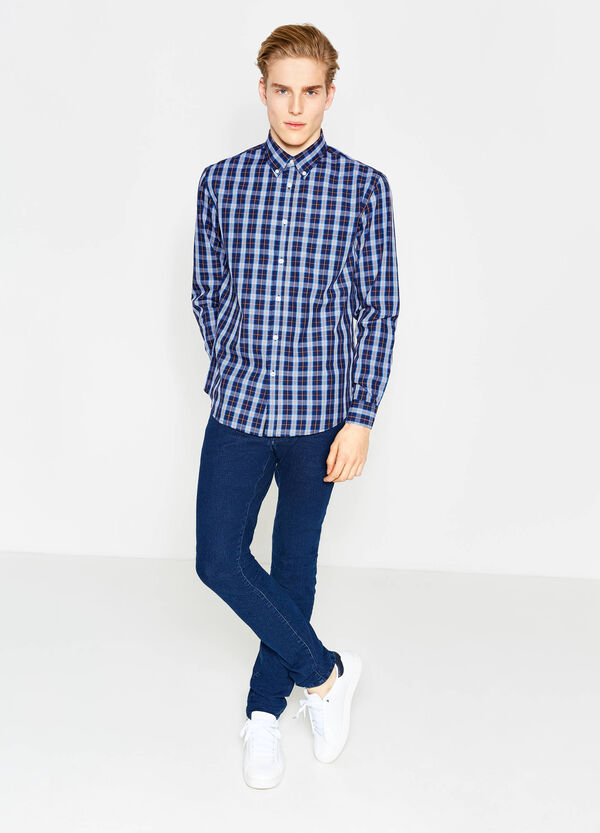 Casual regular-fit check shirt in cotton | OVS