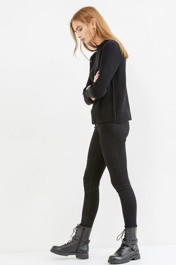 Solid colour knit cotton pullover, Black, hi-res