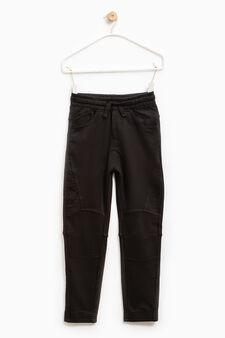 Pantaloni tuta cotone tinta unita, Nero, hi-res