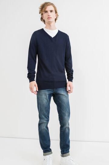 Jersey en mezcla de viscosa y lana con escote de pico, Azul marino, hi-res
