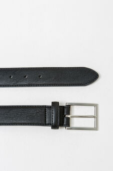 Textured-effect belt with shiny buckle, Black, hi-res