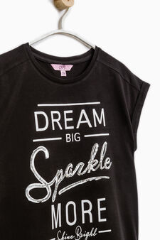 Sequinned T-shirt in 100% cotton, Black, hi-res