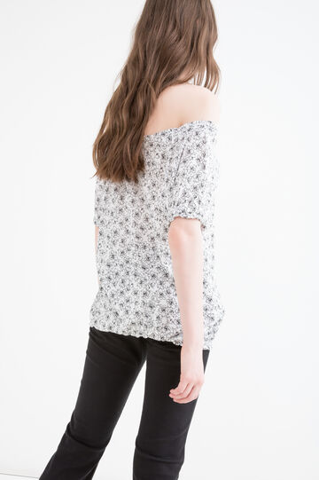 Floral pattern viscose T-shirt, White/Black, hi-res