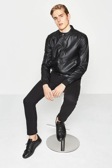 Leather-look jacket with ribbing, Black, hi-res