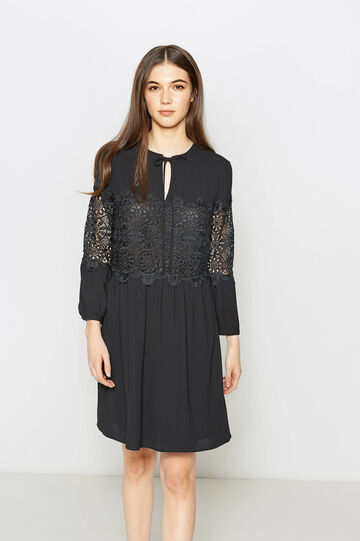 Pleated dress with lace, Black, hi-res