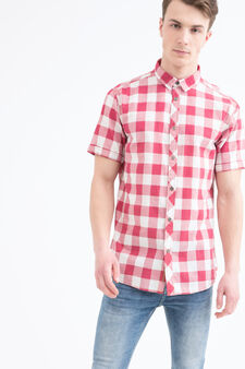 G&H check cotton shirt, White/Red, hi-res