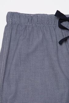 Pyjama trousers with drawstring, White/Blue, hi-res
