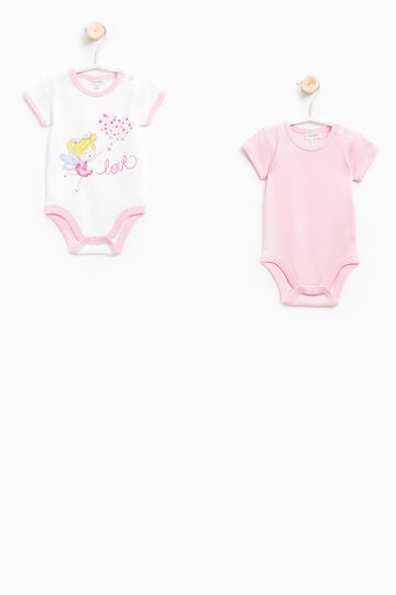 Two-pack printed cotton bodysuits, White/Pink, hi-res