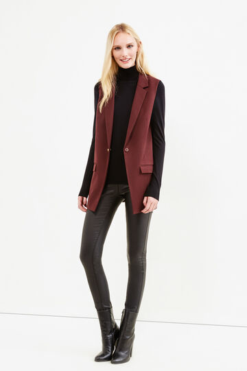 Long stretch waistcoat with lapels, Claret Red, hi-res