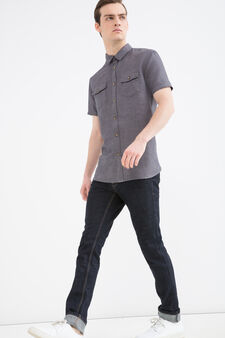Linen blend shirt with pockets, Brown, hi-res