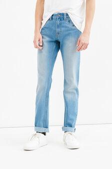 Jeans straight fit effetto delavato, Lavaggio chiaro, hi-res