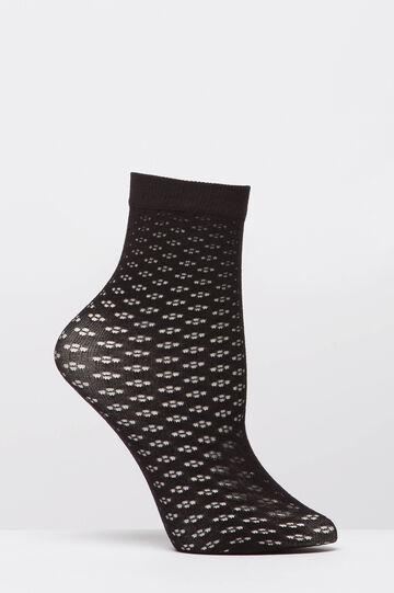 Short stretch patterned pop socks, Black, hi-res