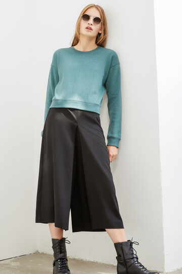 Culottes with side zip, Black, hi-res