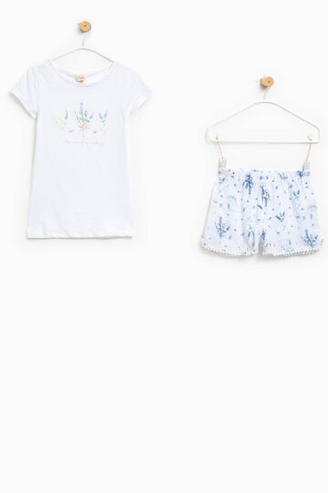 Pyjamas with printed top and patterned shorts