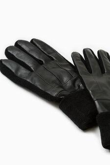 Solid colour real leather gloves, Black, hi-res