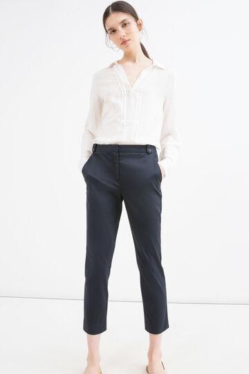 Pantaloni capri tinta unita stretch
